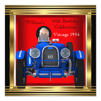 Vintage Red Blue Racing Car 60th Birthday Photo 13 Cm X 13 Cm Square Invitation Card