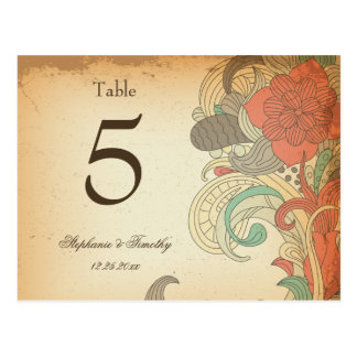 Vintage red brown floral wedding table number post cards