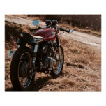 Vintage red café racer motorcycle poster