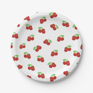 Vintage Red Cherries Cherry Pattern 7 Inch Paper Plate