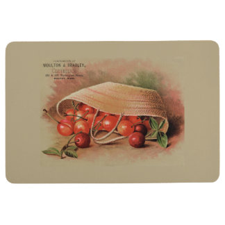Vintage Red Cherries in a Basket Brown Floor Mat