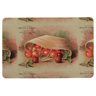 Vintage Red Cherries in a Basket Floor Mat