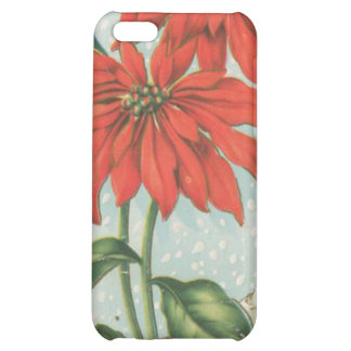 Vintage Red Christmas Poinsettias iPhone 5C Cases