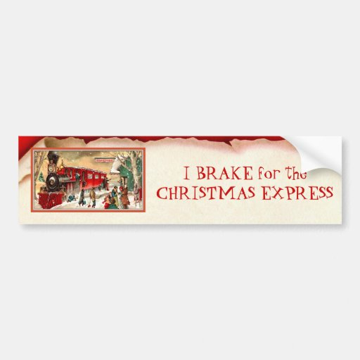 Vintage Red Christmas Train Bumper Sticker
