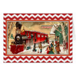 Vintage Red Christmas Train Card