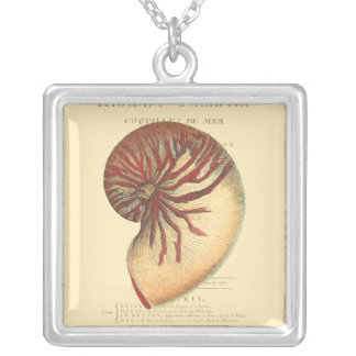 Vintage Red Conch Shell Silver Plated Necklace