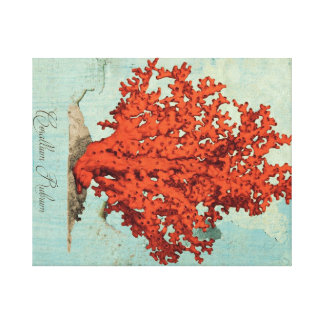 Vintage Red Coral Illustration Stretched Canvas Print