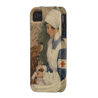 Vintage Red Cross Nurse with Golden Retriever iPhone 4/4S Cases