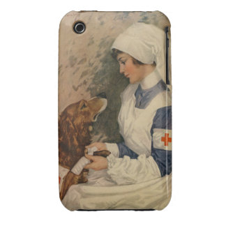 Vintage Red Cross Nurse with Golden Retriever iPhone 3 Covers