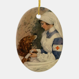Vintage Red Cross Nurse with Golden Retriever Christmas Ornament