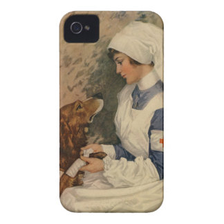 Vintage Red Cross Nurse with Golden Retriever Dog Case-Mate iPhone 4 Cases