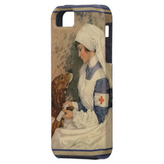 Vintage Red Cross Nurse with Golden Retriever Dog Tough iPhone 5 Case