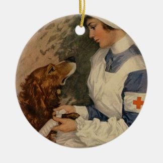 Vintage Red Cross Nurse with Golden Retriever Pet Christmas Ornament