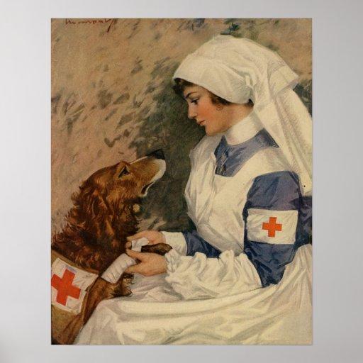 Vintage Red Cross Nurse with Golden Retriever Poster