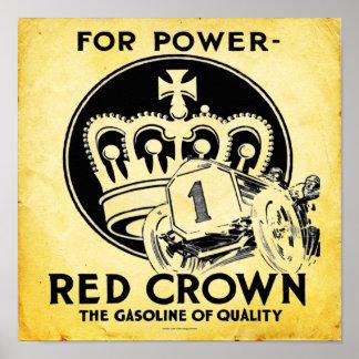 Vintage Red Crown Gasoline Print