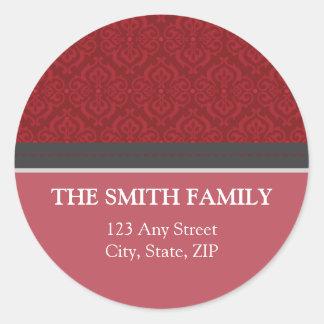 Vintage Red Damask Return Address Sticker