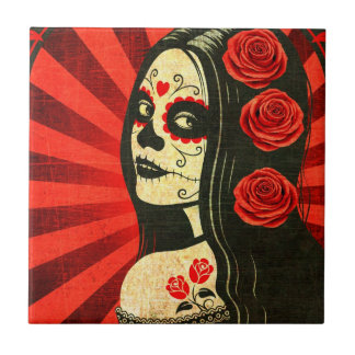 Vintage Red Day of the Dead Girl Small Square Tile