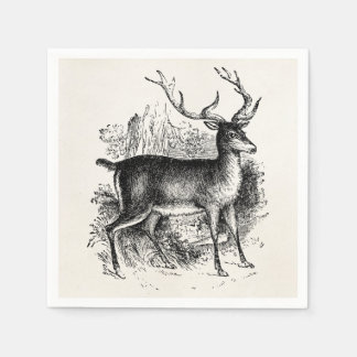 Vintage Red Deer Stag Personalized Template Disposable Serviettes