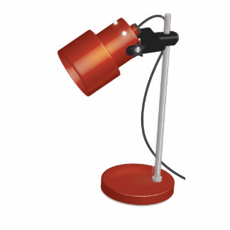 Vintage Red Desk Lamp Photo Cutout