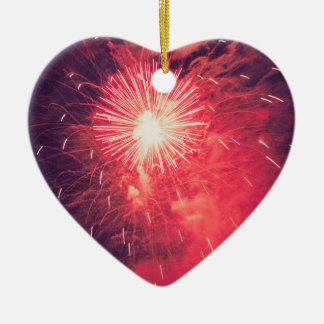 Vintage Red fireworks pirotechnics illuminations o Ceramic Heart Decoration