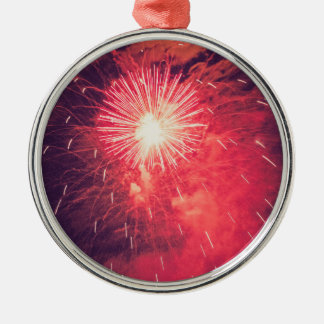Vintage Red fireworks pirotechnics illuminations o Silver-Colored Round Decoration