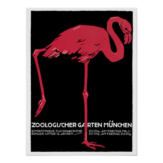 Vintage Red flamingo Munich Zoo travel ad Poster