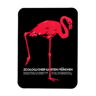 Vintage Red flamingo Munich Zoo travel ad Rectangular Photo Magnet