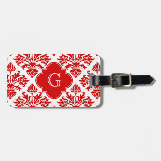 Vintage Red Floral Damask #3 with Monogram LG Luggage Tag