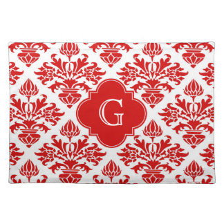 Vintage Red Floral Damask #3 with Monogram LG Placemat