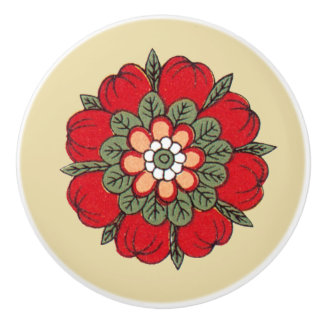 Vintage Red Flower Ceramic Knob