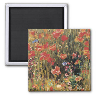 Vintage Red Flowers, Poppies by Robert Vonnoh Square Magnet