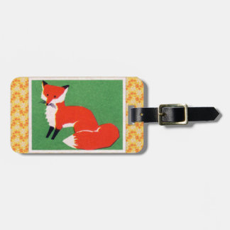 Vintage Red Fox Print Luggage Tag