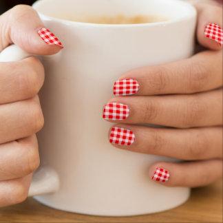 vintage red gingham plaid check fashion nails nail art