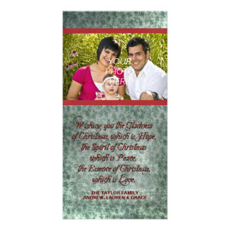 Vintage Red Green Photo Christmas Cards Picture Card
