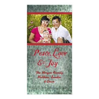 Vintage Red Green Photo Christmas Cards Custom Photo Card