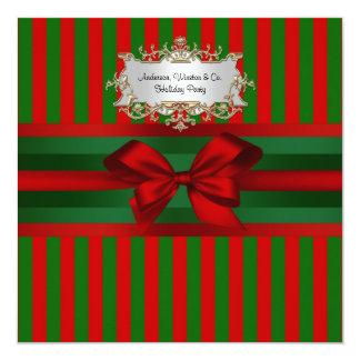 Vintage Red & Green Stripe Ribbon Christmas 13 Cm X 13 Cm Square Invitation Card