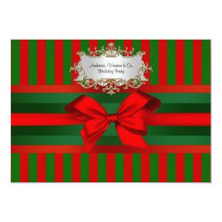 Vintage Red & Green Stripe Ribbon Christmas 13 Cm X 18 Cm Invitation Card