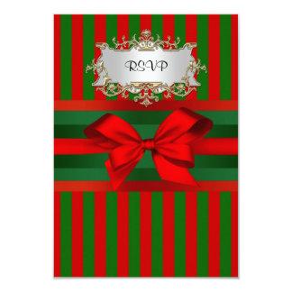 Vintage Red & Green Stripe Ribbon Christmas 9 Cm X 13 Cm Invitation Card