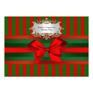 Vintage Red Green Stripe Ribbon Christmas Announcements