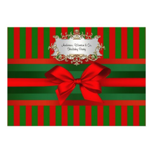 Vintage Red & Green Stripe Ribbon Christmas Announcements