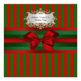 Vintage Red Green Stripe Ribbon Christmas Personalized Announcement