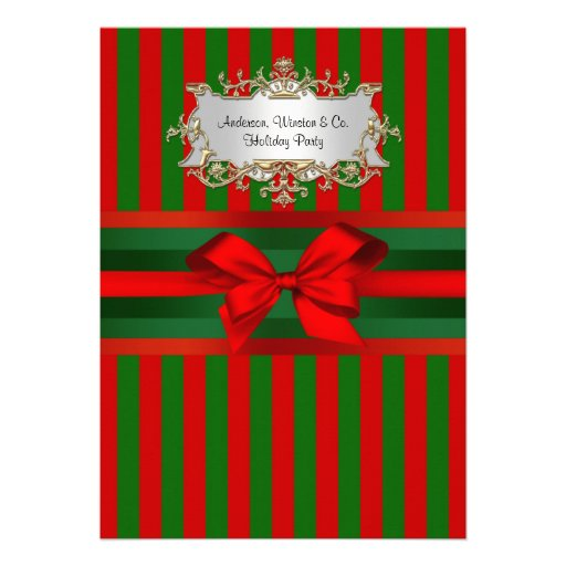 Vintage Red & Green Stripe Ribbon Christmas Personalized Invite