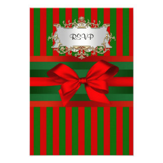 Vintage Red Green Stripe Ribbon Christmas Personalized Invite