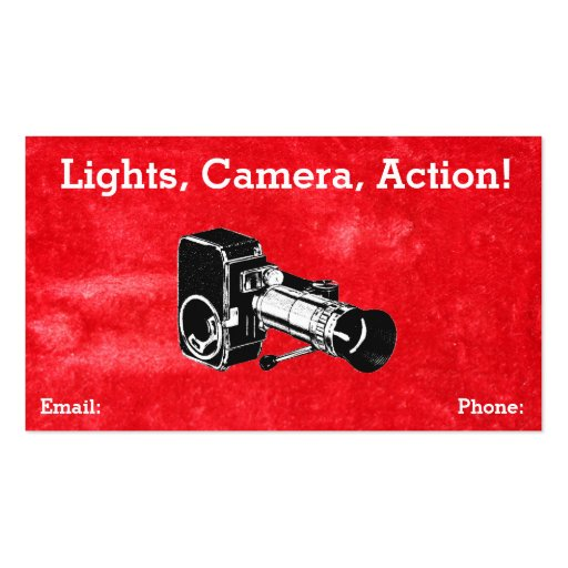 Vintage Red Grungy Retro Style Movie Camera Film Business Card Templates