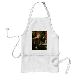 Vintage red-haired lady in green standard apron