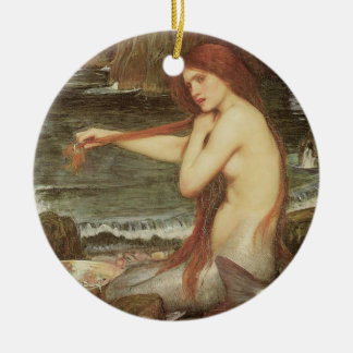 VINTAGE RED HAIRED MERMAID PORTRAIT CHRISTMAS ORNAMENT