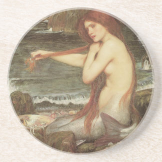 VINTAGE RED HAIRED MERMAID PORTRAIT COASTER