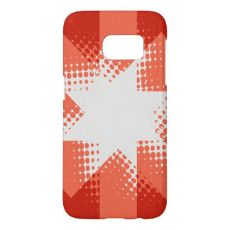 Vintage red halftone star