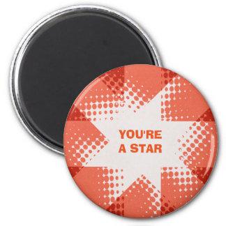 Vintage red halftone star magnet