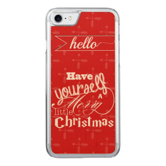 Vintage Red Have Yourself a Merry Little Christmas Carved iPhone 7 Case